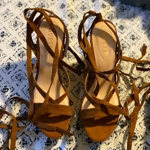 Brown Guess Strappy Wrap Wedges